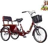 Triciclo per adulti Bicicletta a 3 ruote Tre giri per genitori e bambini con sedile posteriore + cestino allargato Bicicletta per anziani a doppia catena Forcella anteriore ammortizzante Biciclette