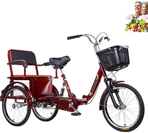 Triciclo para Adultos Bicicleta de 3 Ruedas Tres Rondas para Padres e Hijos con Asiento Trasero + Canasta ampliada Bicicleta de Movilidad para Ancianos Doble Cadena Horquilla Delantera amortiguadora