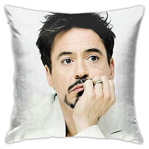 MOMMOT Robert Downey Jr und Iron Style A Kissenbezug, entworfen als ein für Fans, volle Breite, doppelseitig bedruckter Plüsch-Kissenbezug, Größe: 45,7 x 45,7 cm (ohne Kissenkern).