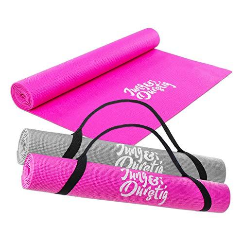 Jung & Durstig 2in1 Yogamatte gepolstert & rutschfest | Gymnastikmatte mit Yogastrap | Fitnessmatte inklusive Ebook Workout | Sportmatte Maße 173 x 61 cm | Pink