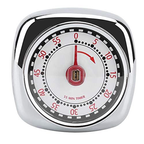 Minuteur mécanique de cuisine en acier inoxydable avec base aimantée, compteur à rebours de 55 minutes de cuisine, exercices de cuisson, alarme, outil de rappel Silver