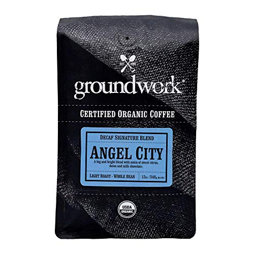 Groundwork Organic Whole Bean Light Roast Coffee, Decaf Angel City, 12 oz Bag