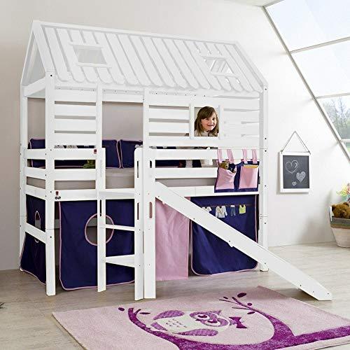 Lomadox - Cama alta para habitación infantil (90 x 200 cm, lacada en blanco, incluye tobogán, escalera y somier)