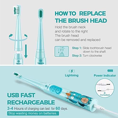 Vekkia Dragon Lord Sonic Rechargeable Kids Electric Toothbrush, 3 Modes with Memory, Fun