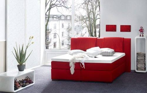 Möbelisten I FEY Boxspringbett mit gestepptem Kopfteil in 180x200 cm in Rot Stoff I thermoelastischem Visco Topper I Härtegrad H3 I Bonellfederkern Matratze I Made in Germany