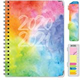 HARDCOVER Academic Year 2020-2021 Planner: (June 2020 Through July 2021) 8.5'x11' Daily Weekly Monthly Planner Yearly Agenda. Bookmark, Pocket Folder and Sticky Note Set (Rainbow Watercolors)