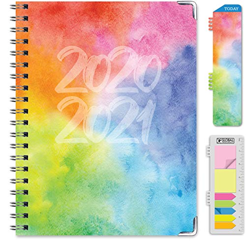 HARDCOVER Academic Year 2020-2021 Planner: (June 2020 Through July 2021) 8.5'x11' Daily Weekly Monthly Planner Yearly Agenda. Bonus Bookmark, Pocket Folder and Sticky Note Set (Rainbow Watercolors)