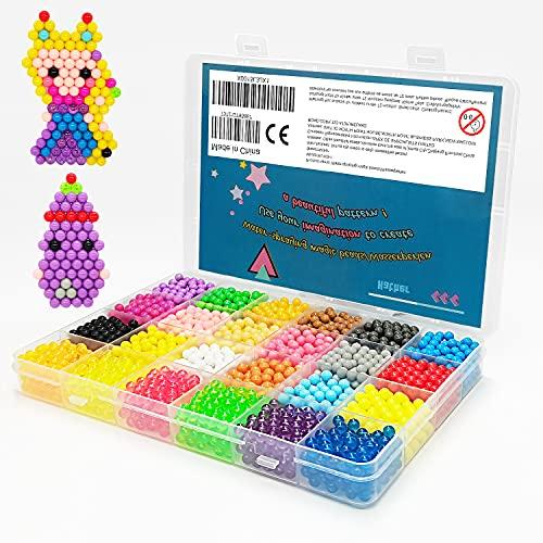 Wasserperlen 24 Farben 3000 Perlen Nachfüllset mit Regelmäßige Größe Perlen kompatibel Kollektion für Kinder mit Kristallperlen(Vorlage Enthalten, Anderes Zubehör ist Nicht Enthalten)