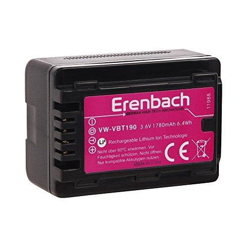 Akku für den Panasonic HC-V160EG und HC-V180EG Camcorder --- ERENBACH Markenakku für VBT190 (1780mAh)