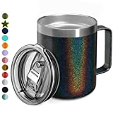 12oz Stainless Steel Insulated Coffee Mug with Handle, Double Wall Vacuum Travel Mug, Tumbler Cup with Sliding Lid, GLITTER BLACK