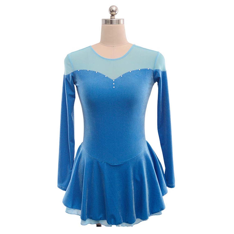 カスタマイズされた子供の大人のフィギュアスケートのドレスの女の子は服の競争テストスカートベルベットを示します,LightBlue,AdultsSize:XXL