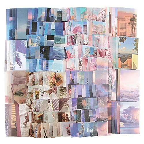 (220Stk) 180 Stk Vintage Scrapbooking Sticker + 40 Stk Material Papier Blumen Set Pflanzen Washi Aufkleber Dekoration für Scrapbook Kalender Notizbuch Tagebuch Fotoalbum DIY Dekoration (Stil B)