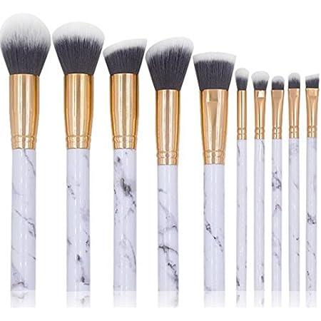 NEJLSD Marble Makeup Brushes Set 10 Pcs Professional Premium Synthetic Kabuki Foundation Cream Face Powder Blush Concealer Eyeshadow Brush