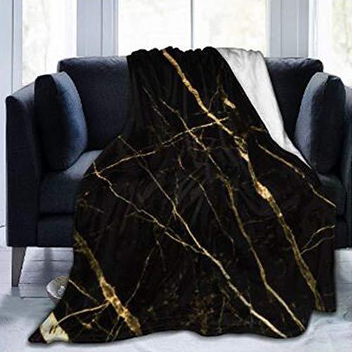Chickwin Flanelldecke Kuscheldecke, Super Soft Weiche 3D Drucken Wohndecke Warm Flauschige Decke TV-Decke Mikrofaserdecke Sofadecke oder Bettüberwurf Tagesdecke (Schwarz Gold Marmor,150x200cm)