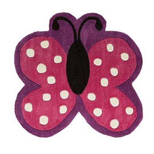 Flair Rugs Kinder Teppich mit Schmetterling-Design (90cm x 90cm) (Pink/Violett)