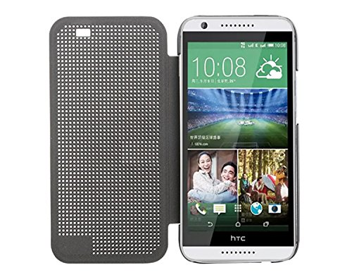 Defender Best DOT View Bumper Touch Flip Case Cover with Sensor for HTC Desire 820 - Grey