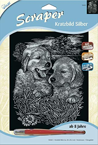 MAMMUT 136041 - Kratzbild, Motiv Hundebabys, silber, glänzend, Komplettset mit Kratzmesser und Übungsblatt, Scraper, Scratch, Kritzel, Kratzset für Kinder ab 8 Jahre