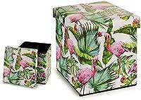 takestop? Folding Pouffe Fabric Flamingo Flamingo Flamingo Design Footstool 31 x 31 cm Plain