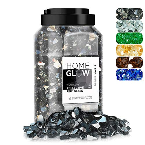 HOMEGLOW Fire Glass | Reflective Tempered Fireglass for Gas or Propane Fire Pit or Fireplace | Black | 1/2 inch | 10 Pounds