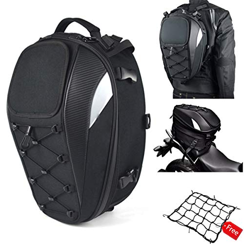 Motorcycle Tail Bag Seat Bag Dual Use Motorcycle Waterproof Helmet Bag for Motorbike Full Face Helmet  with One Extra Motorcycle Cargo Net
