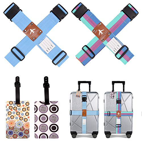 4pcs Luggage Straps for Suitcases and 2pcs Luggage Tags, Security Straps, Luggage Belts, CrossTraval Suitcase Straps, Adjustable Packing Belts with Buckle for Family Travel/Bussiness Trip (Blue)
