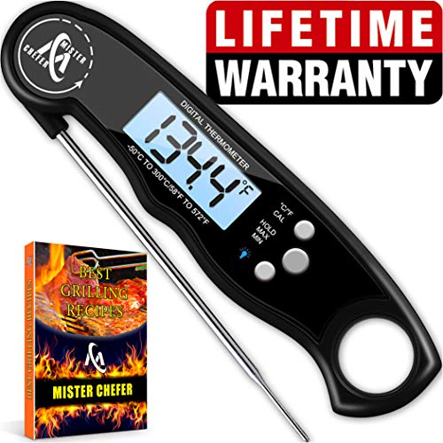 Instant Read Thermometer Best Waterproof Digital Meat Thermometer with Backlight and Calibration functions Food Thermometer for Outdoor and Kitchen Cooking