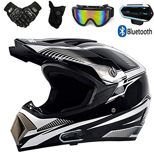YASE Motorräder Downhill Enduro Helm mit Bluetooth Kopfhörer Brille Handschuhe Masken (5 Pieces) Herren Damen Motocrosshelm Motorfahrrad Mopedhelm Crosshelm Mopedhelm Kommunikation,Black White,L