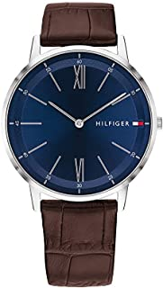 Tommy Hilfiger Men's Stainless Steel Quartz Watch with Leather Strap Brown (Model: 1791514) , 2725619843722