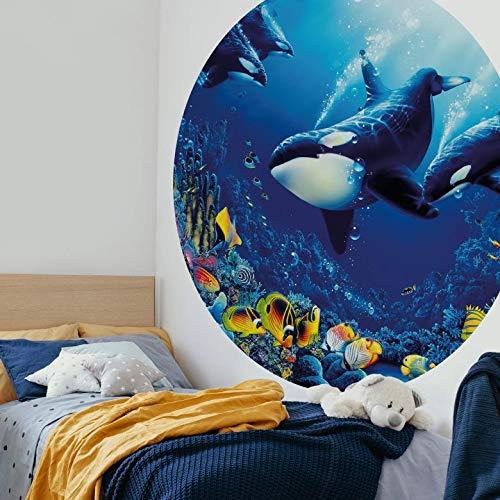 Fototapete Vliestapete Rund Orcas Lebensfreude Ozean Meer Schwertwale Wale Fische Korallen Korallenriff bunte Unterwasserwelt inkl. Schablone Ø140 cm