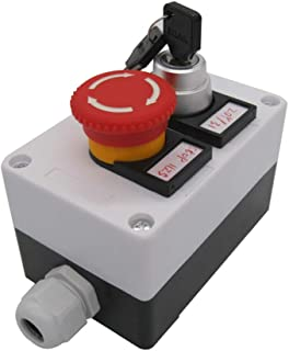 TWTADE/Red Mushroom Emergency Stop 1NC 1NO Latching Push Button Switch, 3 Positions 2NO Key Lock Latching Rotary Select Selector Switch Station Box (Quality Assurance for 3 Years) hz-11ZS-20Y