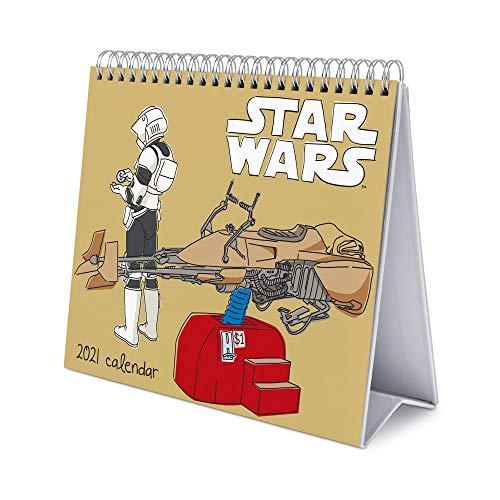 Erik® Calendrier Mensuel 2021 Star Wars Classique | Calendrier de Bureau 12 Mois | Avec des Espaces pour Écrire | De Janvier à Décembre 2021, CS21006