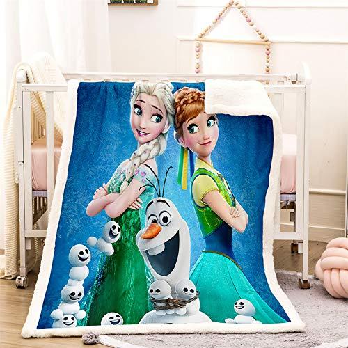 DAKEAI Frozen 3D Microfibre Fleece Blanket, Disney Frozen Fleece Blanket for Children, for Sofa Bed (20, 100 x 140 cm)