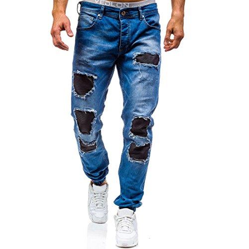 AOWOFS heren jeans Destroyed Regular Tapered jeansbroek Strech met PU-leer