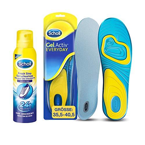 Scholl GelActiv Einlegesohlen Everyday für Freizeitschuhe Größe 35,5-40,5 - Scholl Fresh Step Geruchsstopp Schuh Deo 150ml - (1 Paar Scholl Einlegesohlen, Scholl Schuh Deo 1 x 150ml)