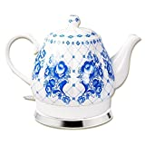 Design Porzellan Wasserkocher Gzhel 1,7L. elektrische Teekanne Keramik