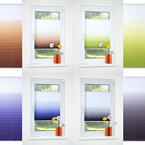 HOMELIA Klemmfix-Plissee Farbverlauf, Stoff: 100% Polyester, verspannt ohne Bohren oder Schrauben, 060 x 130 grau, blickdichte Transparenz, lichtdurchlässig