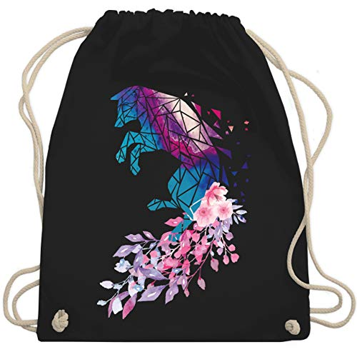 Sonstige Tiere - Fuchs mit Blumen - Unisize - Schwarz - sonstige tiere-fuchs mit blumen-turnbeutel &gym bag - WM110 - Turnbeutel und Stoffbeutel aus Baumwolle