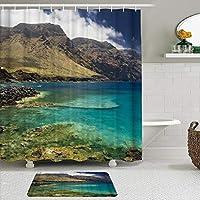 WOTAKA シャワーカーテン バスマット 2点セット 美しい自然の風景 自家 寮用 ホテル 間仕切り 浴室 バスルーム 風呂カーテン 足ふきマット 遮光 防水 おしゃれ 12個リング付き