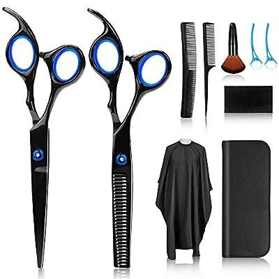 10Pcs Hair Cutting Scissors Kits, Stainless Steel Hairdressing Shears Set Thinning/Texturizing Scissors Professional Barber/Salon/Home Shear Sets (Black)