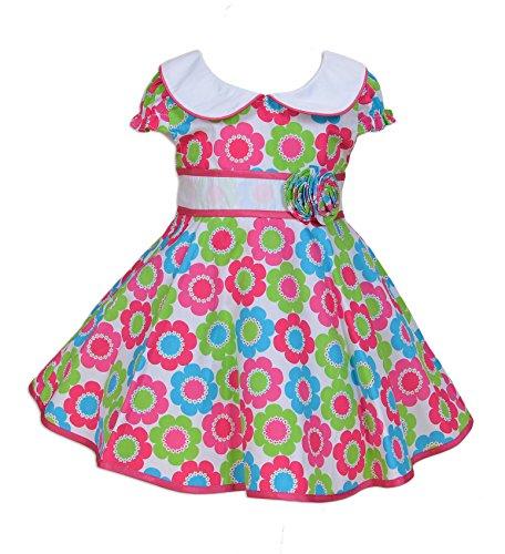 Cinda Baby Meisjes Hete Roze en Groene Bloem Feestjurk