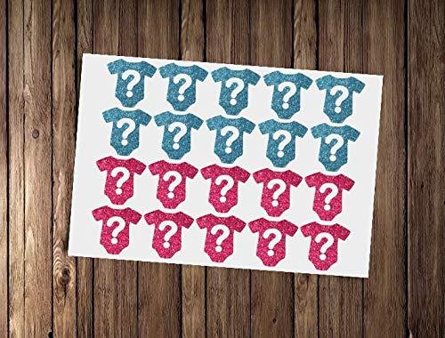 Wall Art 20 Glitter Baby Romper Stickers, Baby Douche Envelop Seals, Gender Reveal Party Decor, Nieuwe Baby Decals Envelop Seals Onbekend Geslacht Douche Eenvoudig aan te brengen