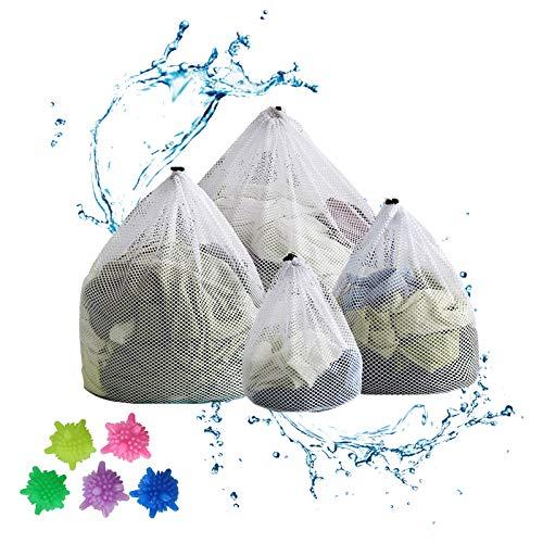 RayE 4 Stück Wäschesack, Wäschebeutel mit Kordelstopper Wiederverwendbare Groß, Wäschenetz für Waschmaschine, Unterwäsche, Babywäsche, Socken, Kaschmir + 5pcs Wäschekugel