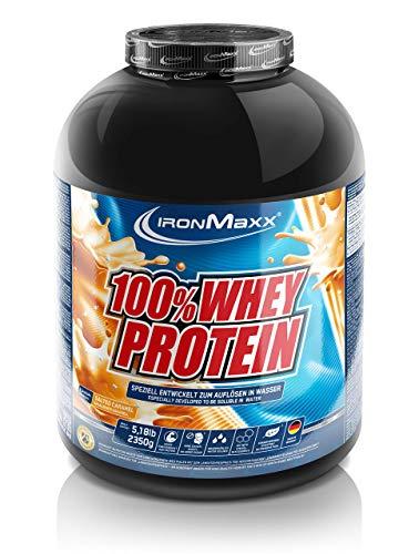 IronMaxx 100% Whey Protein, Proteinpulver für Eiweißshake, Eiweißpulver auf Wasserbasis mit Salted-Caramel Geschmack, 2,35 kg