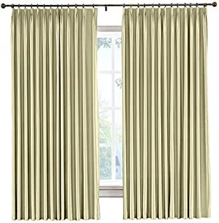 cololeaf Pinch Pleat Faux Silk Curtains Drapery Panel For Traverse Rod Or Track, Living Room Bedroom Meetingroom Club Theater Patio Door, Khaki 52W x 63L Inch (1 panel)