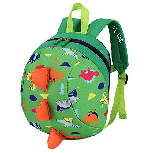 Toddler Kids Backpack Rucksack with Reins for Boys/Girl, Dinosaur Rucksack Toddler, Cartoon Safety Anti-Lost Strap Rucksack Kids Bag 27 * 19 * 11cm / 10.62 * 7.28 * 4.33inch (Green)