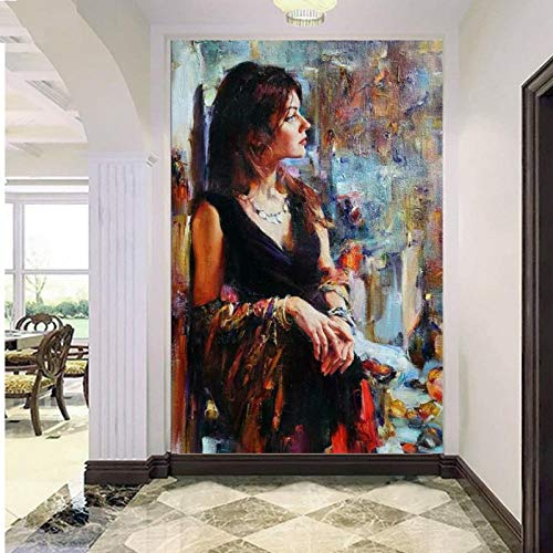 artaslf Diamond Painting Color Beauty Girl Cross Stitch Full Square Embroidery Diamond Mosaic kit Set Sexy Lady Corridor Home Art- 40x50cm unframed