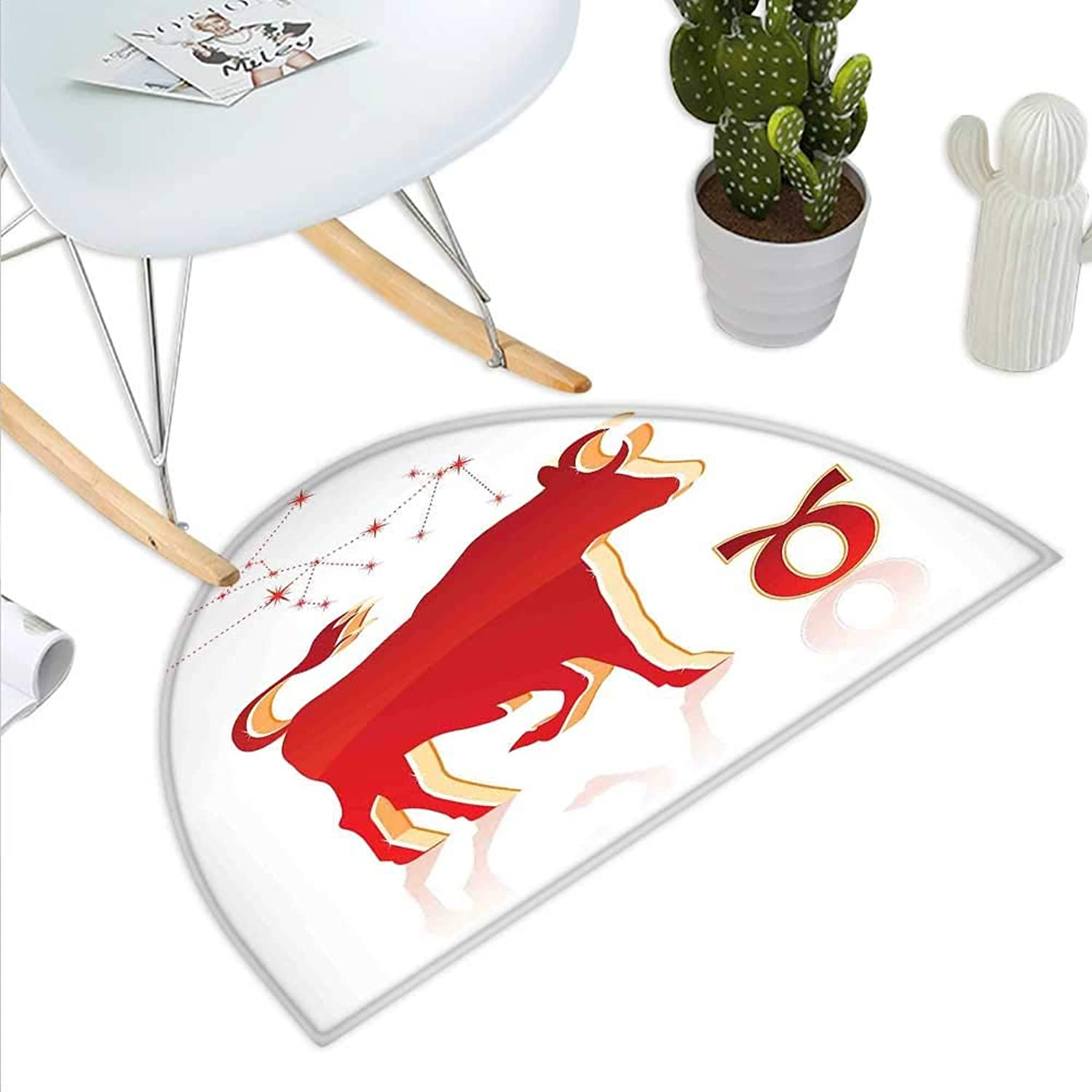 Zodiac Taurus Semicircle Doormat Vibrant Animal Silhouette with Constellation of The Hgoldscope Halfmoon doormats H 43.3  xD 64.9  Vermilion and Pale orange