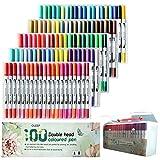OLEEP - Lote de 100 rotuladores para acuarela con punta de cepillo de 2 mm y 0,4 mm, punta fina para libros de colorear para adultos, manga, dibujo de pintura