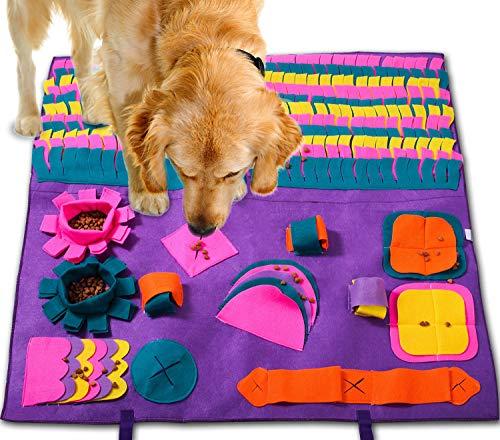 PATIO PLUS Hond Snuffle Mat Training Speelgoed Huisdier Release Zachte neuswerkdeken Anti-slip Training Wasbaar Zacht Interactief Puzzel Speelgoed voor veel huisdieren 90x90cm (paars)