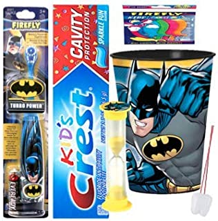 Batman Inspired 3pcs Bright Smile Oral Hygiene Bundle! Turbo Spin Toothbrush, Toothpaste, Mouthwash Rinse Cup! Plus Bonus Flossers, Tooth Necklace, Brushing Timer & Stickers